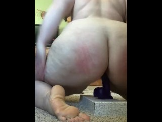 BBW sdoes a strip tease and rides her dildo