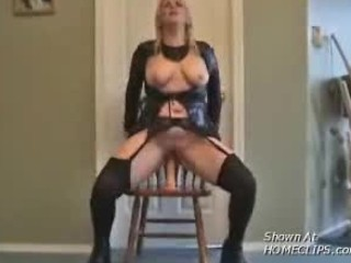 blonde slut rides a big dildo
