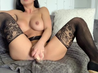 Hot school teacher fucks her tight ass with a dildo for the first time