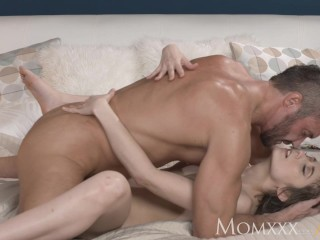MOM Cute and sweet woman with hairy pussy orgasms with her lover