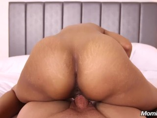 Husband Blows Up Phone While Tall Ebony MILF Wife Fucks Young Mom Pov Stud