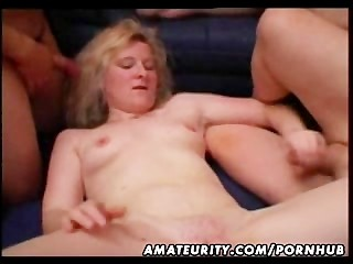 Blonde amateur slut homemade gangbang with cum on tits and face