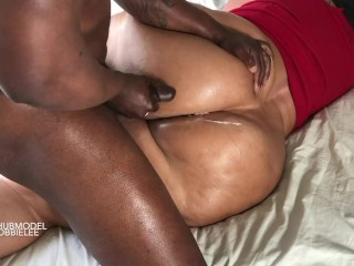 ASS JOB! Mom smothers BlackCock with Juicy WHITE BUTT CHEEKS until he BUSTS