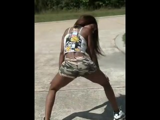 Black Teen Twerking Sexy Ass in Booty Shorts pt. 2