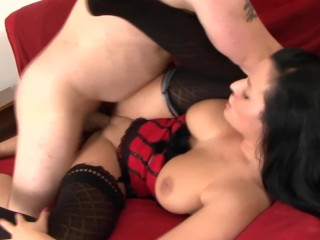 Long haired brunette with big tits fucking in a nighty and thigh high nylon