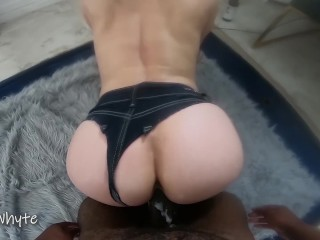 Creamy Pussy DEEP STROKED In Jean Thong – Messy CUM LOAD SLURPED Out BBC