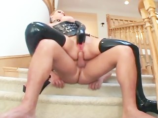 Blonde milf with big tits fucking in latex stockings gloves and a corset