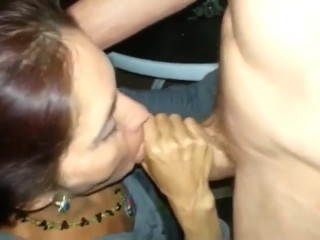 Married MILF sucking the cum out of a cock in front of husband & friends