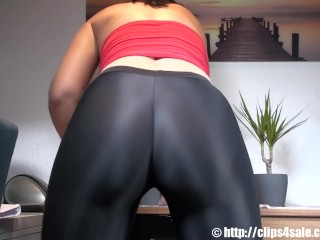 Fat ass MILF moans and cums in spandex