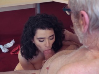 Teen fucks old man rides his big cock and sucks it deepthroats licking cock