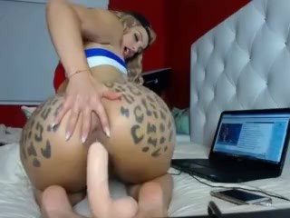 Fat Ass riding a dildo