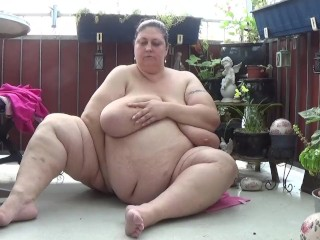 German Obese SSBBW Monster Masturbate on the Balkony