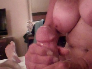 POV: I Suck and Stroke My Son's Big Cock as He Watches My Big Tits