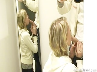 Blonde teen gets facial in changing room