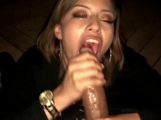Latina babe gives bbc sloppy deepthroat for tongue cumshot