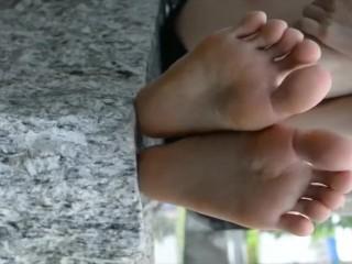 cute chinese teen shows her feet