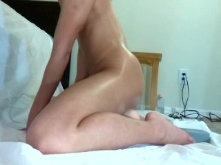 Asian wife takes an intense 10 inch dildo up the ass