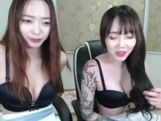 Korean lesbian BJ kissing