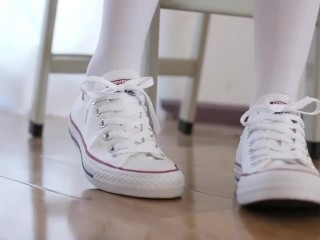 White pantyhose chinese foot tease