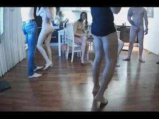 Group sex in the apartment. shot by hidden camera.
