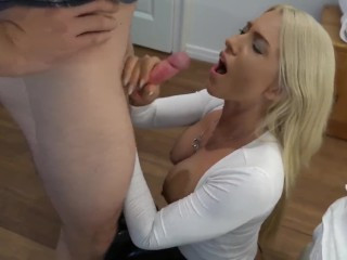 Blond babe asking people on the streets to fuck her
