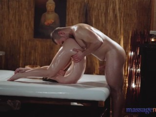 Massage Rooms petite Czech blonde Lady Bug slippery handjob and cowgirl sex
