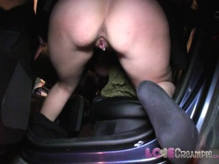 Love Creampie Her pussy drips with cum after sex in car