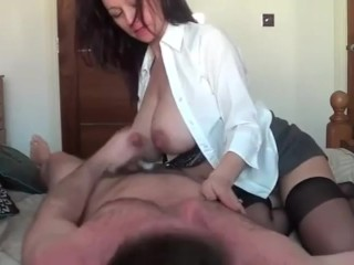 Natural Busty Pregnant Girl Rides Daddy's Cock