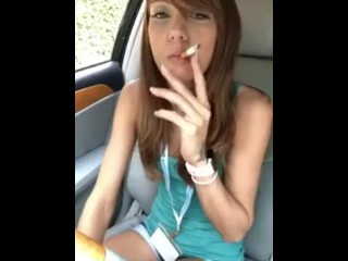Hot Smoking Girl in her car