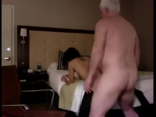 Old man fucks skinny hooker in hotel room