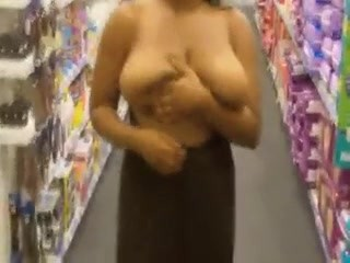busty black girl big boobs flashing in store