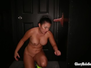 Busty mixed girl sucks off a couple of dudes