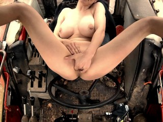 Beautiful Busty Farm Girl Very Bad Natta Cums Hard In Tractor