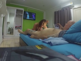 Pattaya Thai teen hooker blowjob, fuck, doggy and prone destroyed