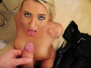 Blonde German Milf in Black Puffy Jacket and Fur Hood Sex
