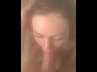 Sucking my boyfriends fat cock in the shower