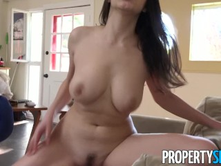 PropertySex – Hot busty Italian couch surfer fucks American host