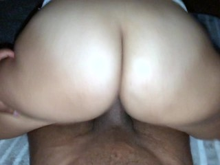 POV of Big Booty Redbone Riding Reverse Cowgirl.