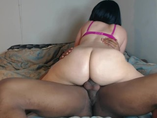 Big booty redbone ride's her BF's hard cock after work!