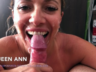 My quick blowjob for his birthday. Mmmm…. he offers me his cum. Queen Ann