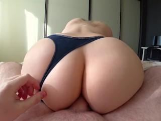 Anal sex through panties with big and juicy ass
