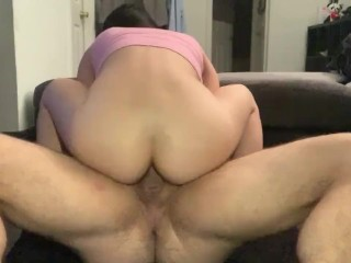 Chinese Asian girl anal rides boyfriends white dick with fast anal fuck